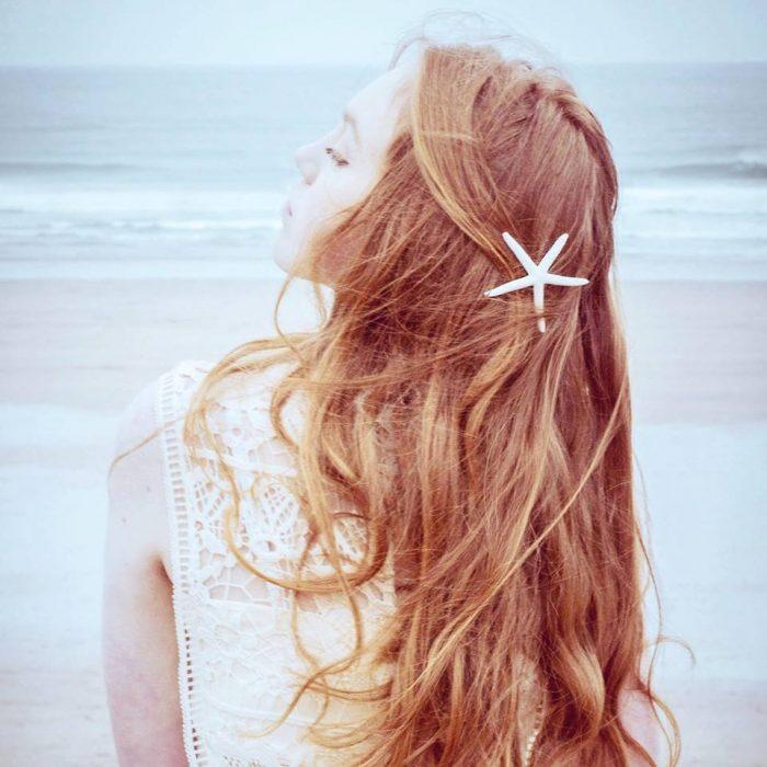 starfish hairclip on the beach