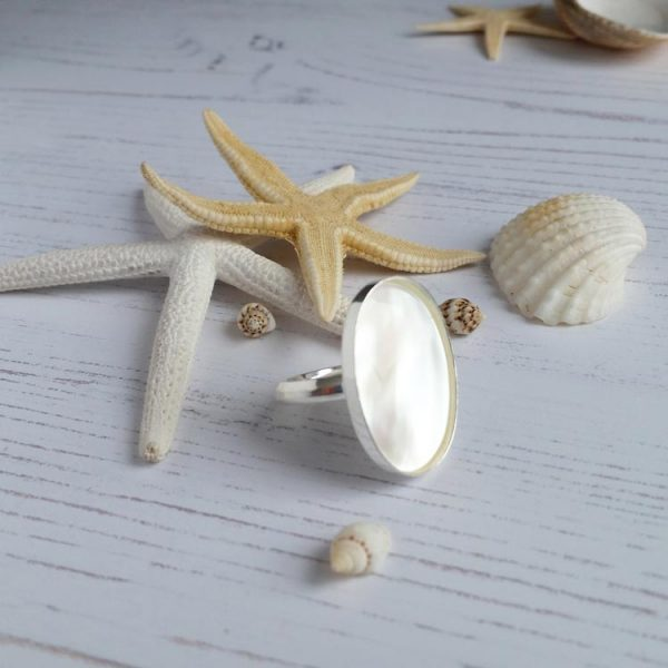 mother of pearl large statement ring