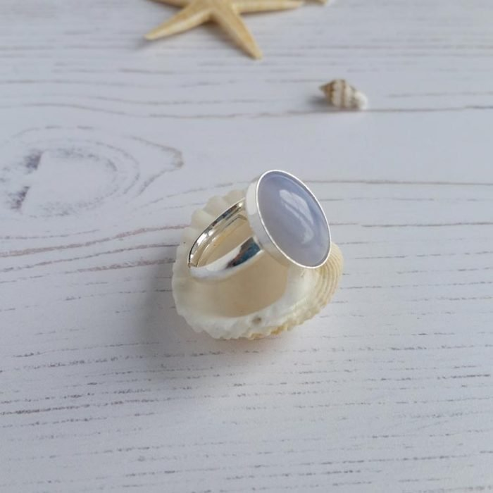 blue lace gemstone ring