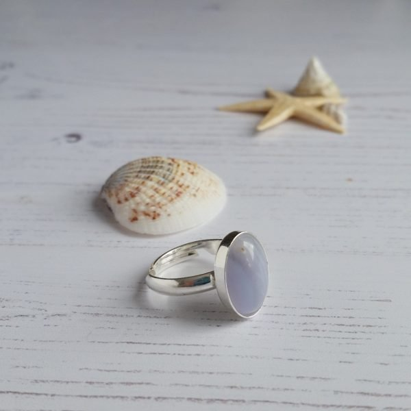 blue lace gemstone ring