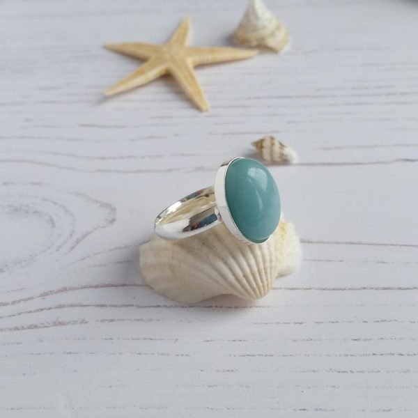 small amazonite statement ring