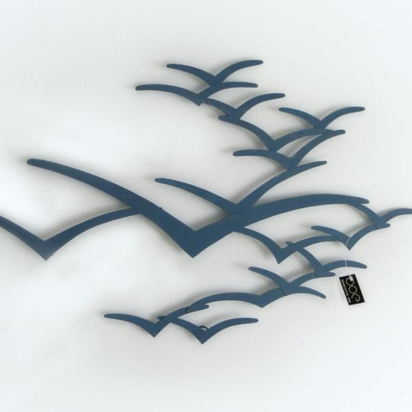 Blue metal seagulls wall art