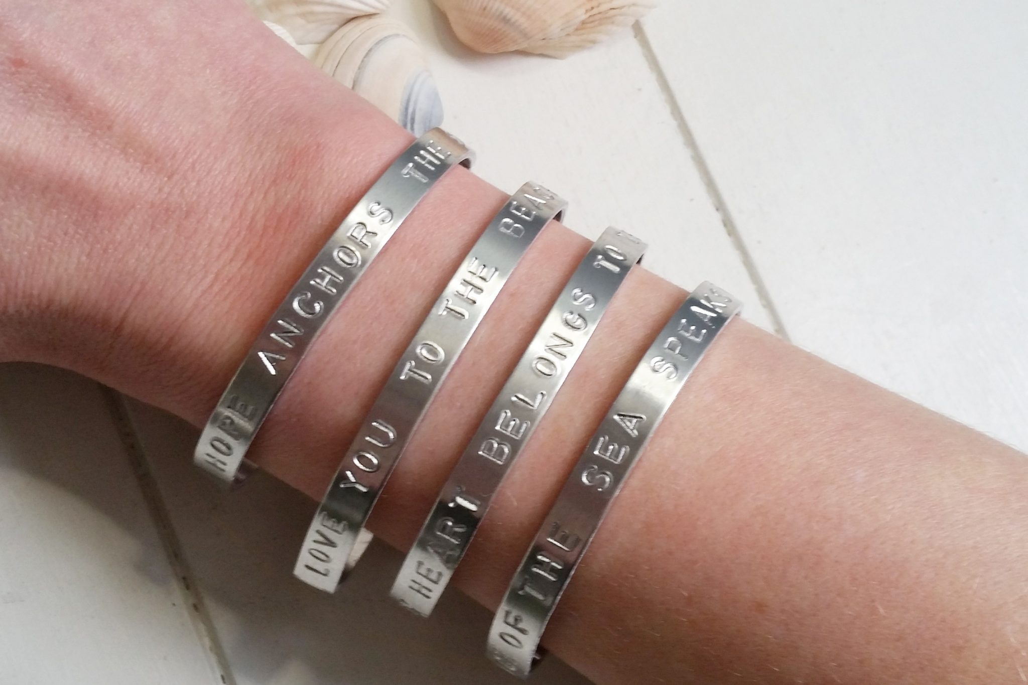 Seaside Quote Hand Stamped Skinny Bangles | Seaside Jewellery