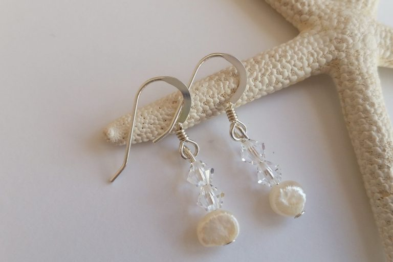 swarovski crystal and fresh water pearl sterling silver beach themed earrings