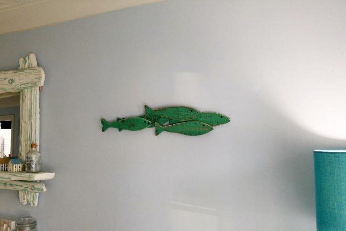 green fish shoal wooden wall art from shoeless joe