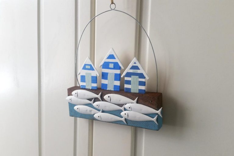 Beach-Hut-and-Fish-Swimming-Nautical-Home-Wall-Art
