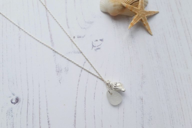 beach themed sterling silver conch shell pendant necklace with white sea glass pendant