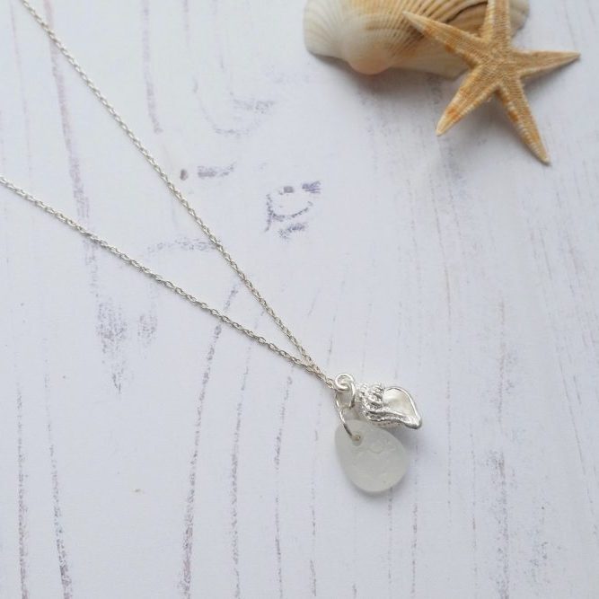 Sterling silver conch shell seaglass necklace seaside jewellery beach themed sterling silver conch shell pendant necklace with white sea glass pendant aloadofball Choice Image
