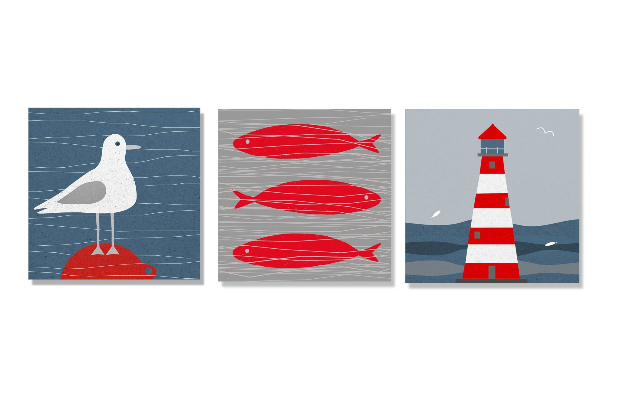 Pack of three nautical greetings cards by seagrass designs card pack 5 bobbing aboutainst the tideghthousesized kristyandbryce Choice Image