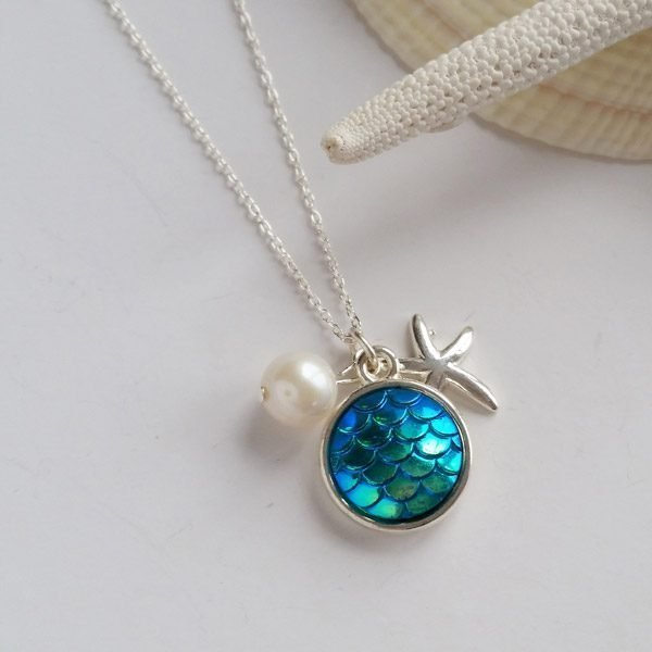 mermaid starfish and pearl silver necklace
