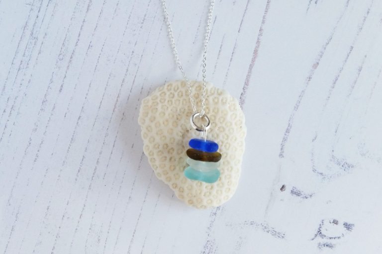 beach jewellery sterling silver seaglass stack necklace