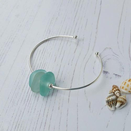sea glass sterling silver bangle