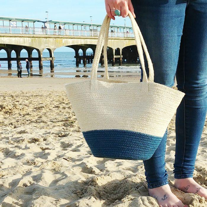 Beach Day basket bag by Bournemouth pier