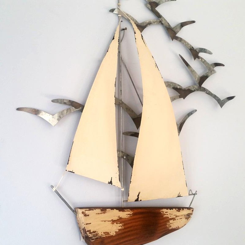 Sail Boat and Seagulls Wall Art | Nautical Homeware & Accessories ...
