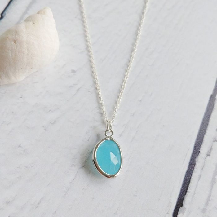 blue glass pendant necklace on a sterling silver chain