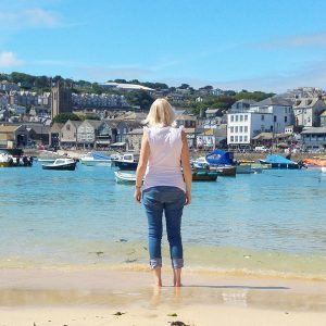 me standing on the beach in st ives