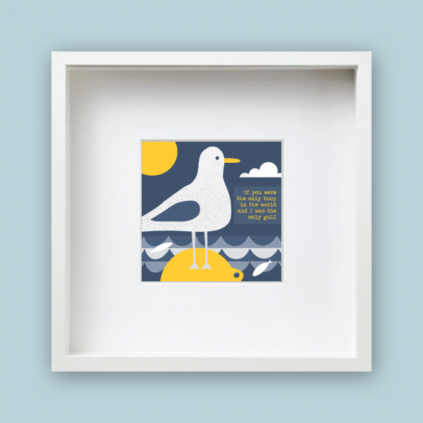 buoy and gull framed print