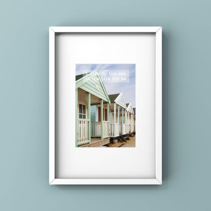 a life by the sea is the life for me quote beach hut framed wall print