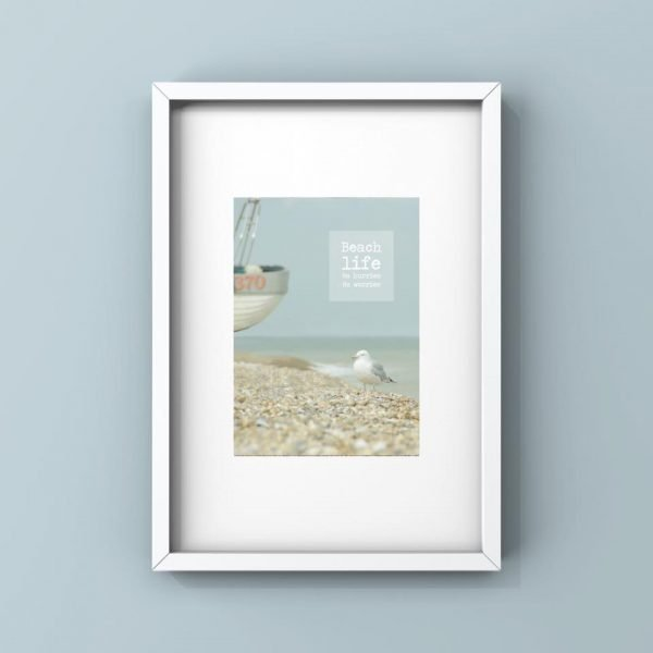 beach life. no hurries no worries quote seagull on the beach framed print