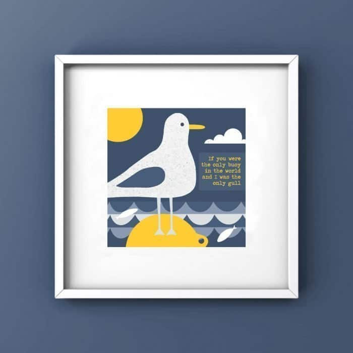 if you were the only bouy in the world and i was the only gull blue and yellow seagull framed print
