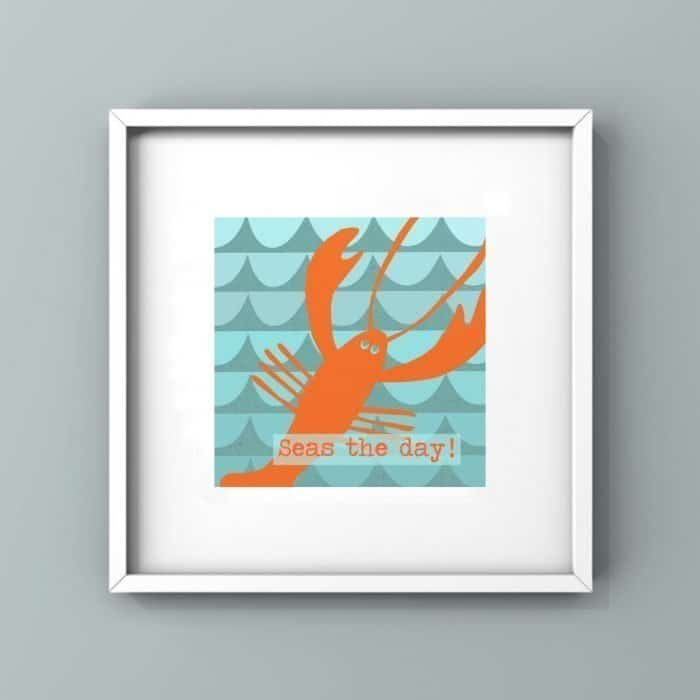 seas the day quote high contrast orange lobster in blue ocean framed wall print