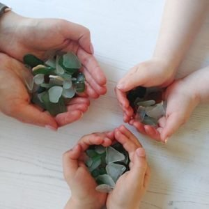 seaglass collection in our hands