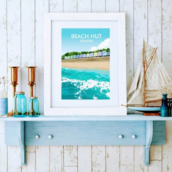 beach hut heaven print