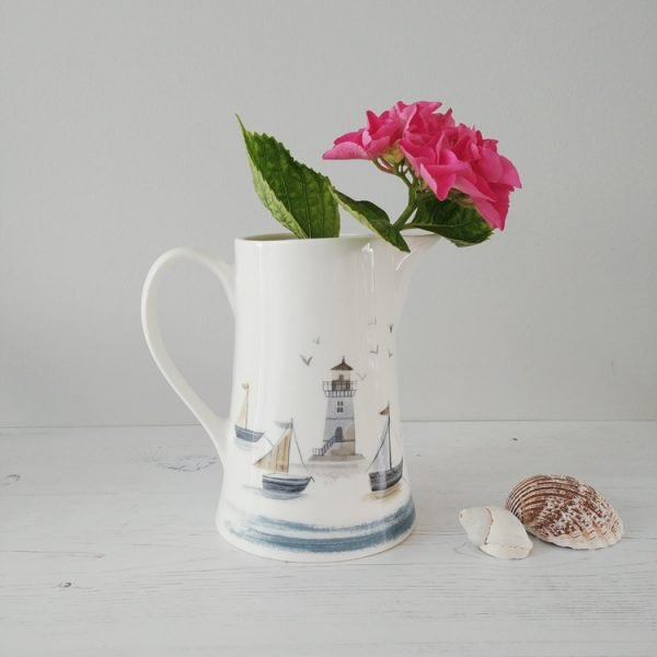 Lighthouse and boats coastal scene ceramic jug from Gisela Graham