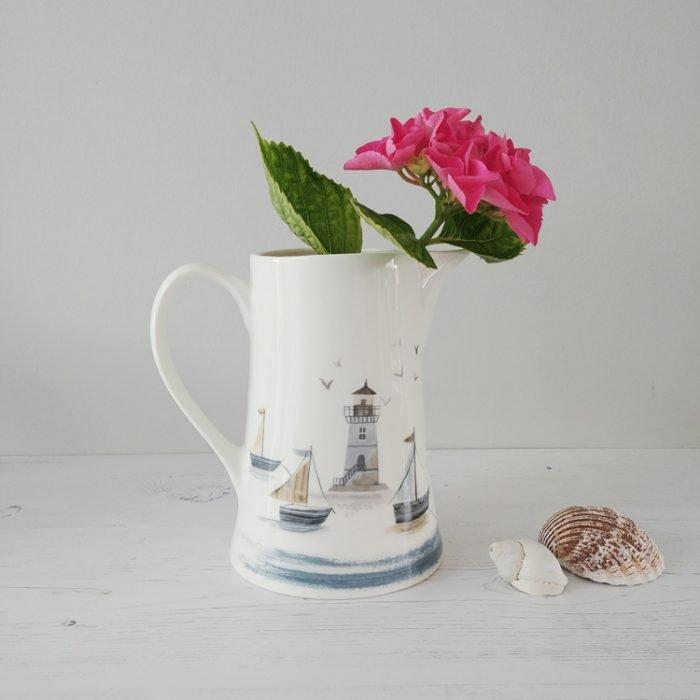 Lighthouse and boats coastal scene ceramic jug from Gisela Graham