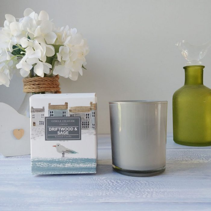 driftwood and sage mini scented candle