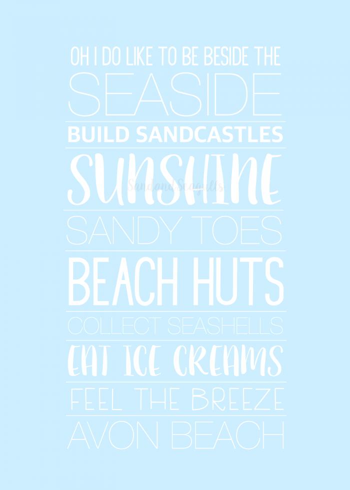 seaside word print