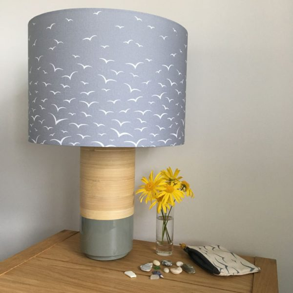Rock & Saltwater grey graduated seagulls print lampshade