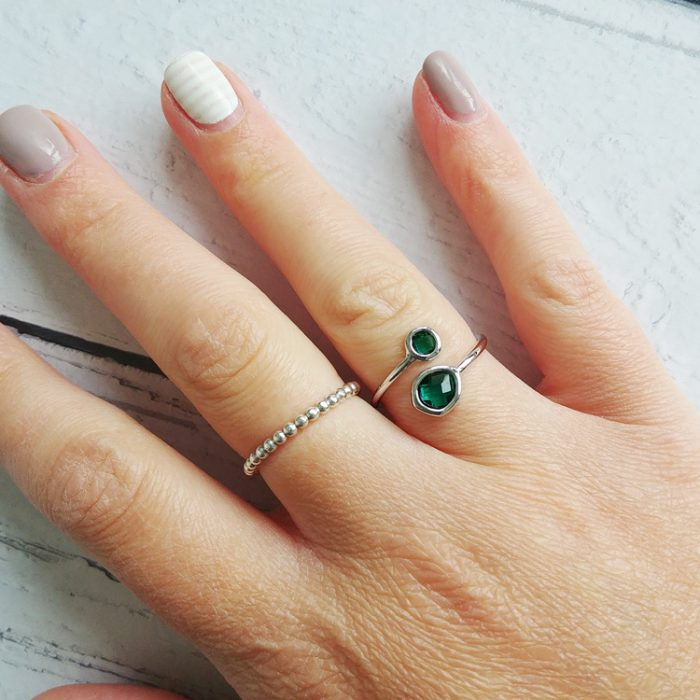 Green Glass Adjustable Ring. Lightweight and a beautiful deep pacific green glass adjustable ring on plated polished silver band