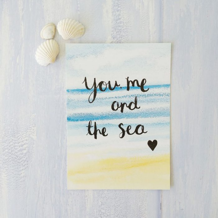 You Me and The Sea A6 postcard print