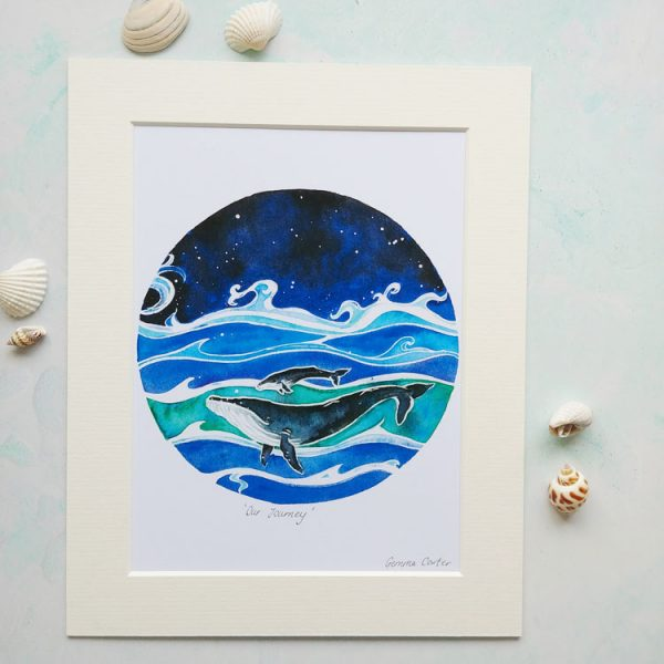 parent and calf humpback whales vibrant watercolour original watercolour by Gemma Carter