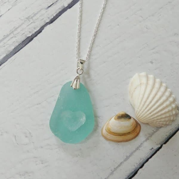 seaglass heart pendant necklace