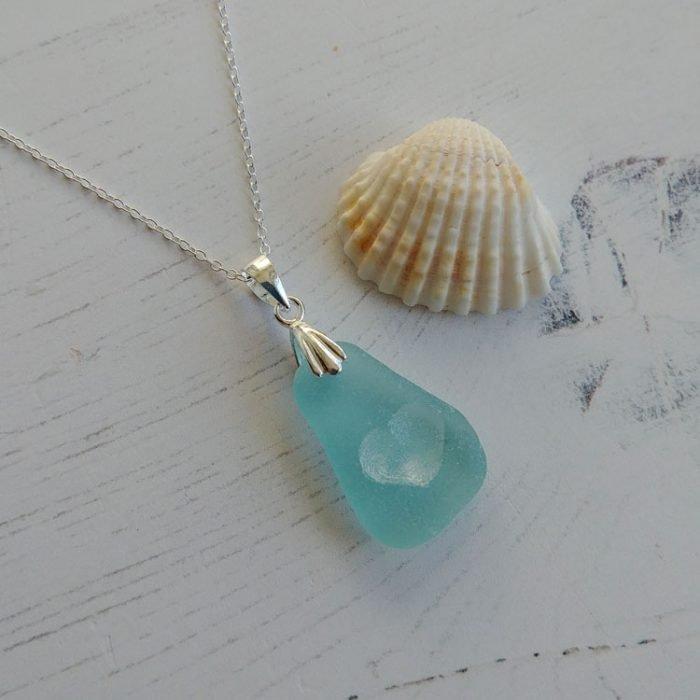 heart seaglass pendant necklace