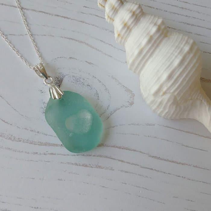 heart of the sea seaglass pendant necklace