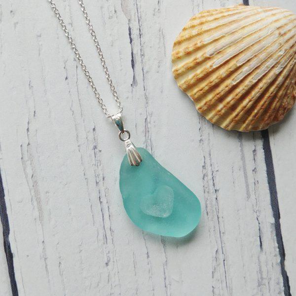 seaglass heart pendant necklace