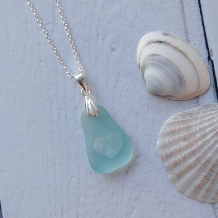 heart of the sea seaglass pendant necklace