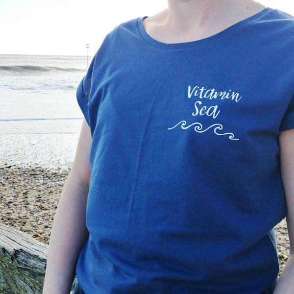 blue short sleeve breton t-shirt with vitamin sea quote