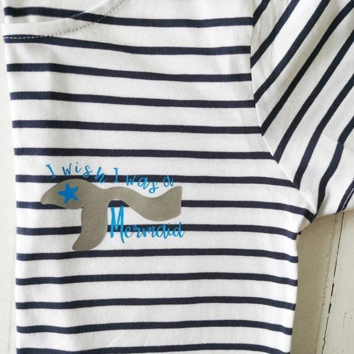 wish i was a mermaid blue and white striped breton t-shirt