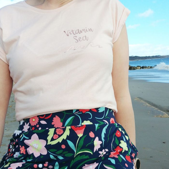 pink short sleeve breton t-shirt with vitamin sea quote