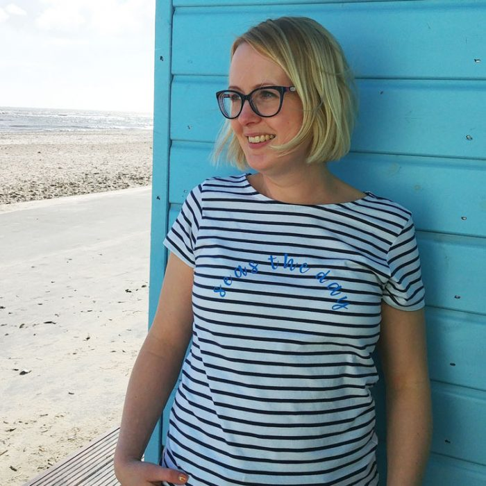 blue and white striped short sleeve breton t-shirt with seas the day quote
