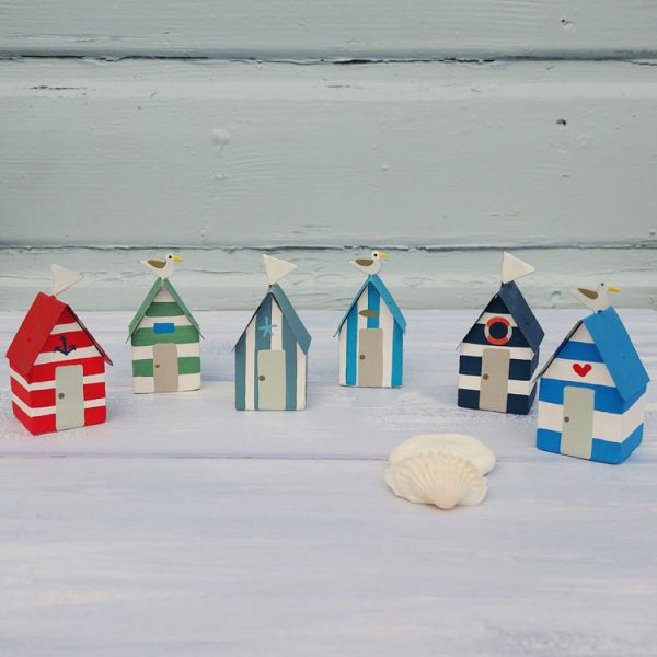 decorative mini wooden beach huts