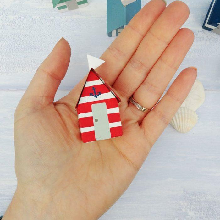red decorative mini wooden beach hut