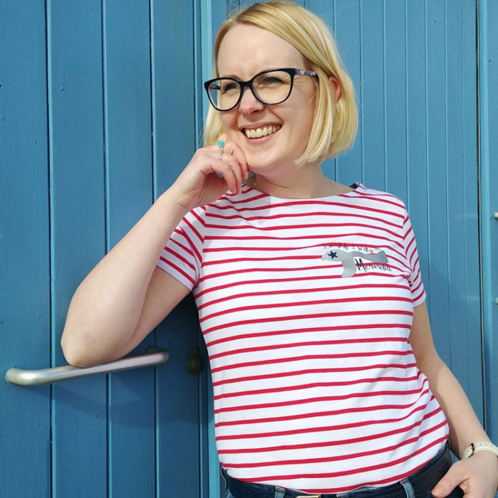 red and white striped breton t-shirt with I wish i was a mermaid quote