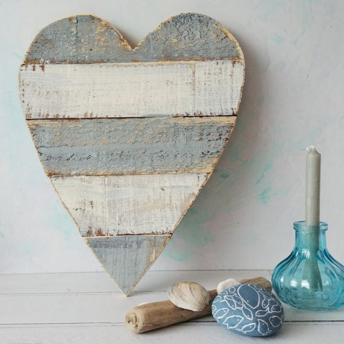 grey and white wooden drfitwood heart home decoration