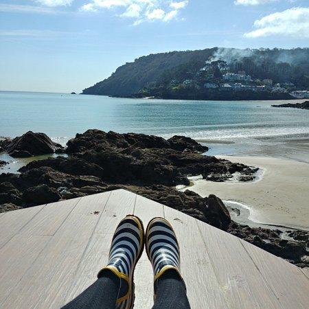 Sunbathing by the beach