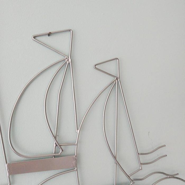 wireframe 3 silver boats wallart by shoeless joe